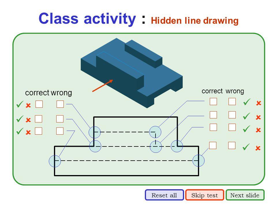 Class activity : Hidden line drawing correct wrong  correct wrong       Skip testNext slideReset all