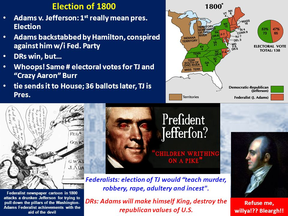 Election of 1800 Adams v. Jefferson: 1 st really mean pres.