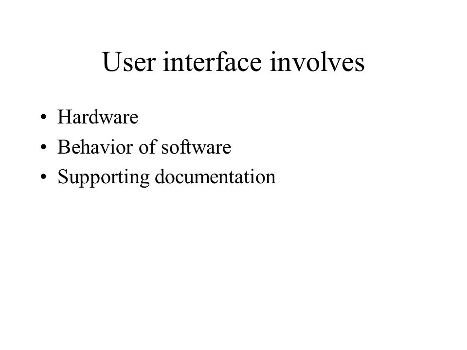 User interface involves Hardware Behavior of software Supporting documentation