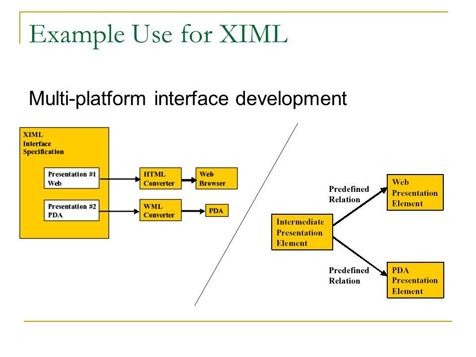 Example Use for XIML Multi-platform interface development