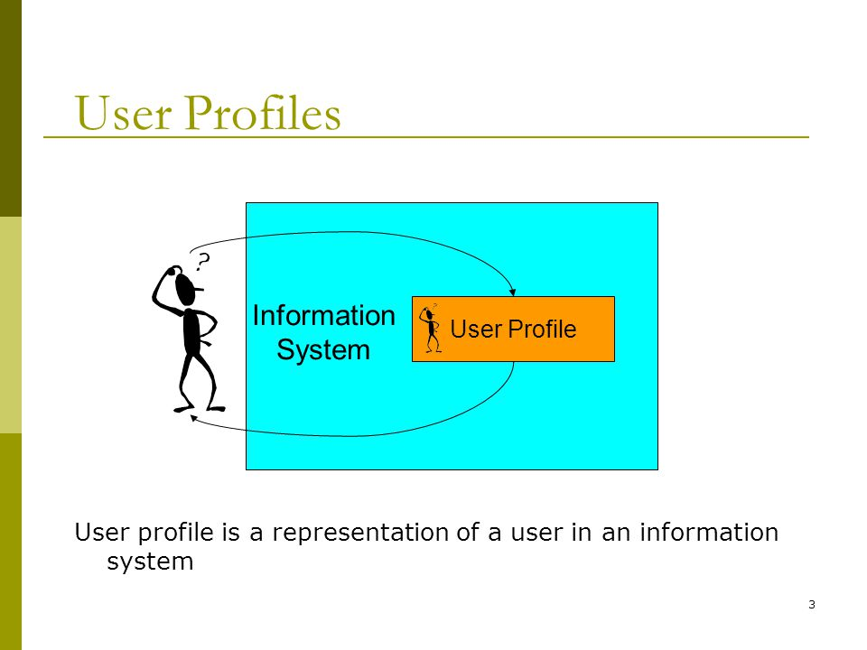 3 User Profile Information System User Profiles User profile is a representation of a user in an information system