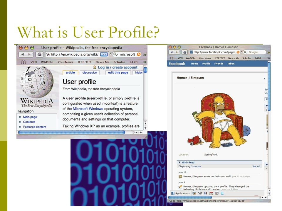 5 User Profile  Common term for user models in information retrieval, filtering, and content-based recommender system  A user's profile is a collection of information about the user of the system, which the system collects and maintains in order to improve the quality of information access  User profile is applied to get the user to more relevant information