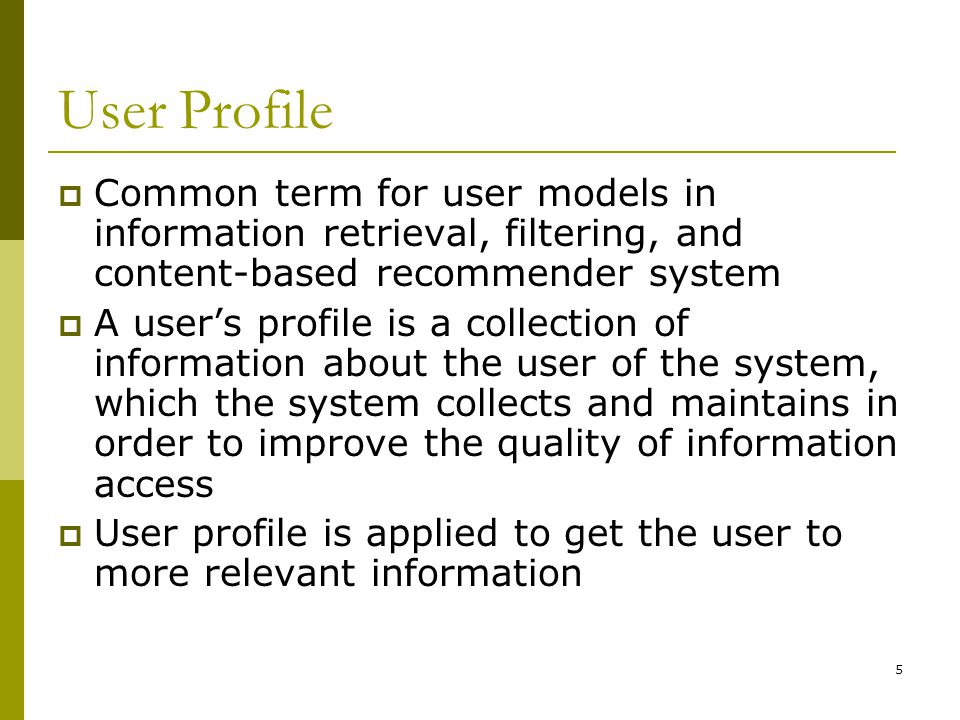 6 SDI: The Origin of Profiles  Selective Dissemination of Information (SDI) User defines her profile of interests System filters all relevant new sources Artificial intelligence and education  Profile - while looks like a query - is really more than a query since it represents long term interests that is where the work on user profiling started  Used for retrospective search and awareness  Profiles kept updated by the users