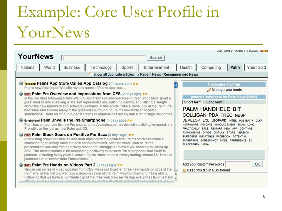 Example: Core User Profile in YourNews 8