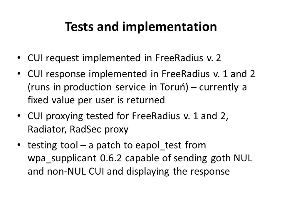 Tests and implementation CUI request implemented in FreeRadius v.