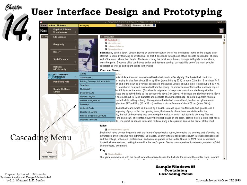 Copyright Irwin/McGraw-Hill 1998 15 User Interface Design and Prototyping Prepared by Kevin C.