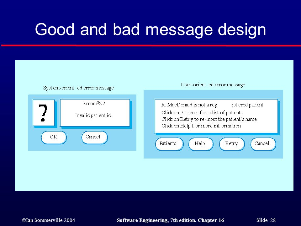 ©Ian Sommerville 2004Software Engineering, 7th edition. Chapter 16 Slide 28 Good and bad message design