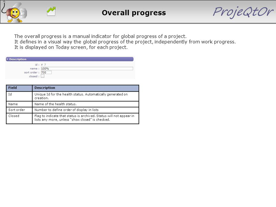 Overall progress FieldDescription Id Unique Id for the health status. Automatically generated on creation. NameName of the health status. Sort orderNu