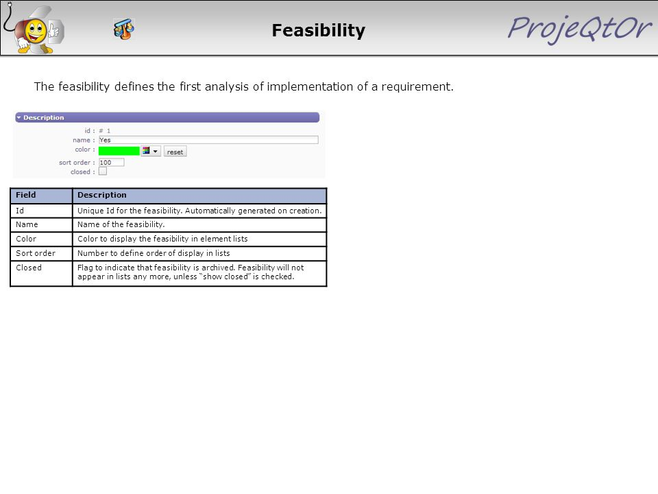 Feasibility The feasibility defines the first analysis of implementation of a requirement. FieldDescription IdUnique Id for the feasibility. Automatic