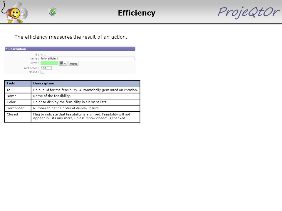 Efficiency The efficiency measures the result of an action. FieldDescription IdUnique Id for the feasibility. Automatically generated on creation. Nam
