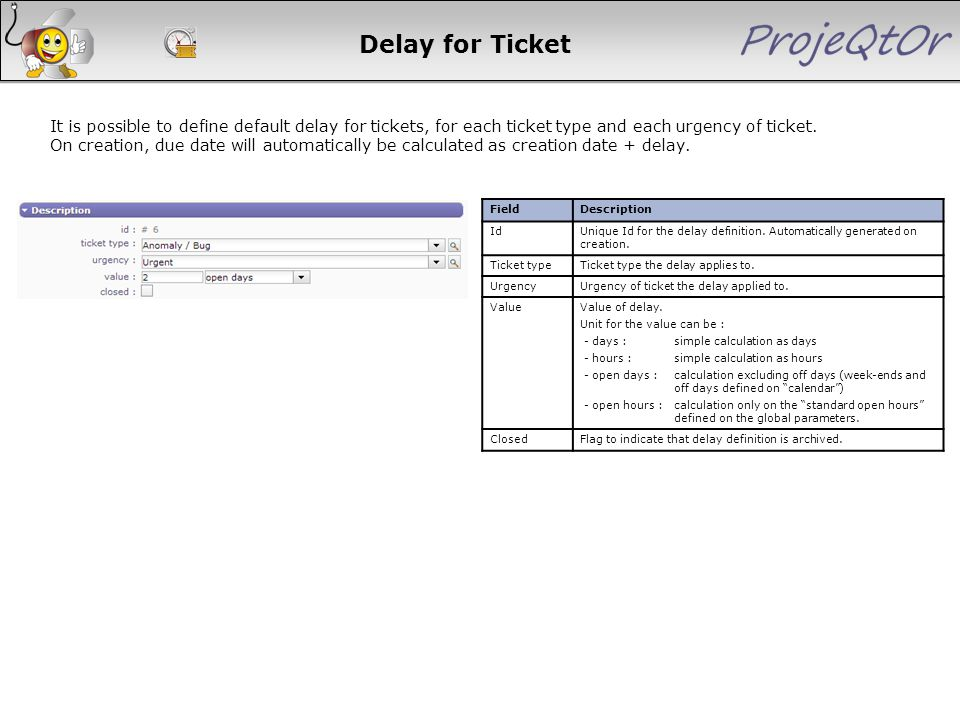 Delay for Ticket It is possible to define default delay for tickets, for each ticket type and each urgency of ticket. On creation, due date will autom