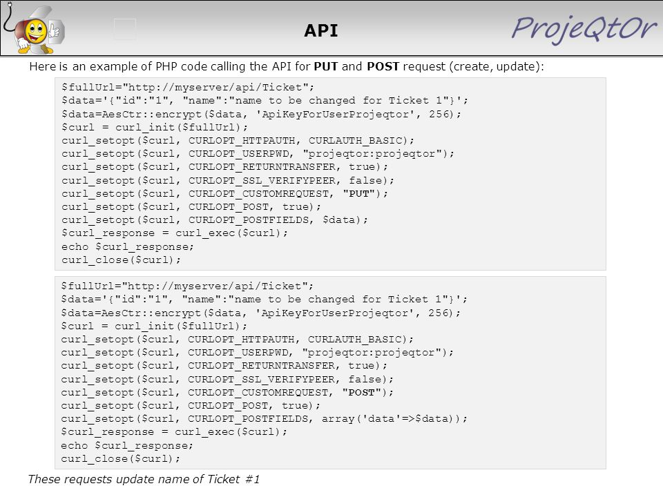 API Here is an example of PHP code calling the API for PUT and POST request (create, update): $fullUrl=