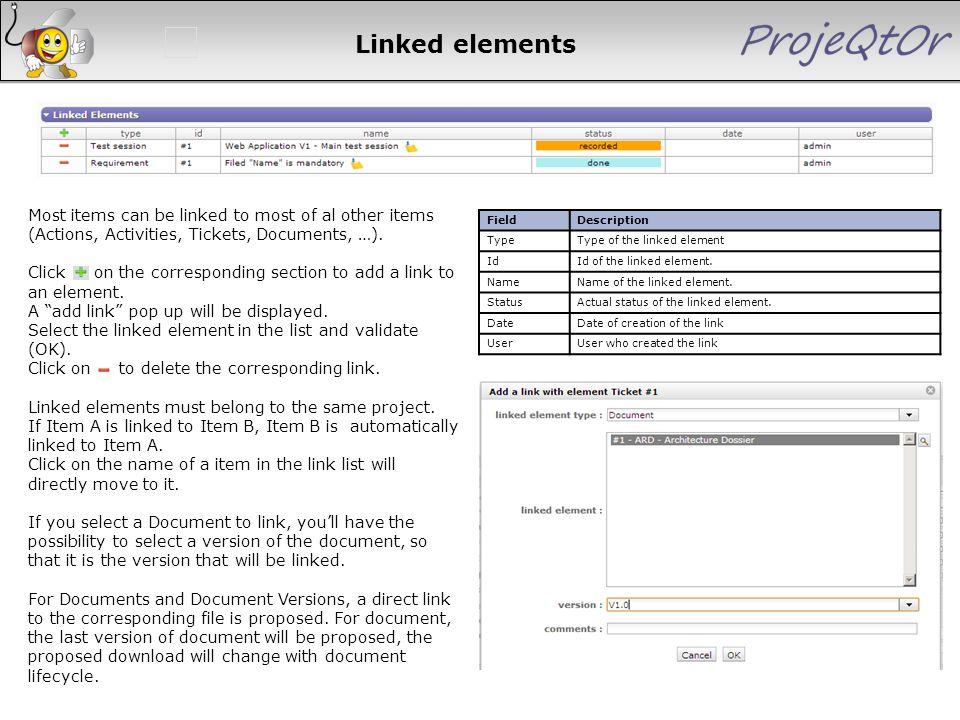 FieldDescription TypeType of the linked element IdId of the linked element. NameName of the linked element. StatusActual status of the linked element.