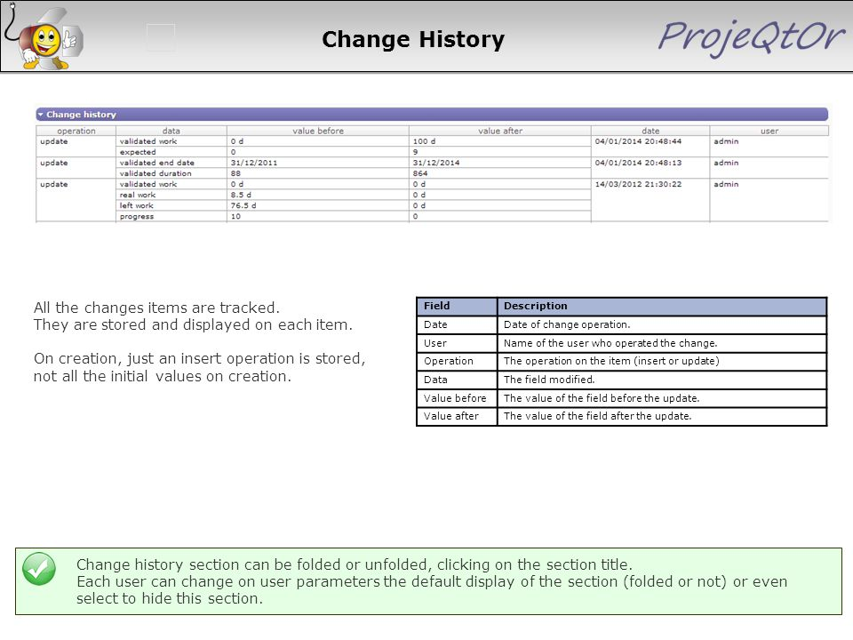 Change History FieldDescription DateDate of change operation. UserName of the user who operated the change. OperationThe operation on the item (insert