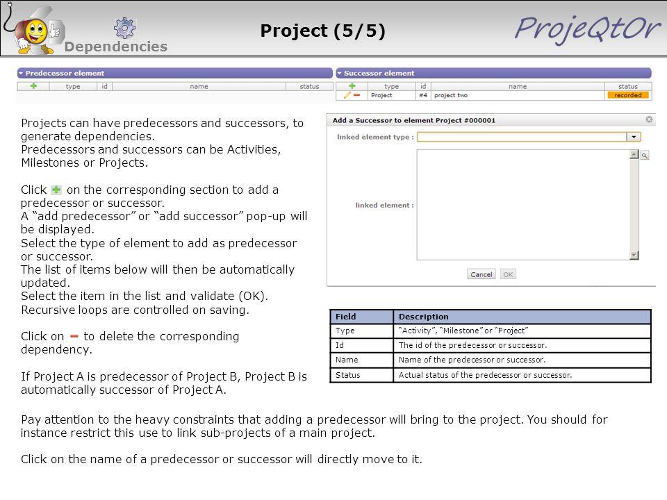 "Project (5/5) Dependencies FieldDescription Type""Activity"", ""Milestone"" or ""Project"" IdThe id of the predecessor or successor. NameName of the predece"