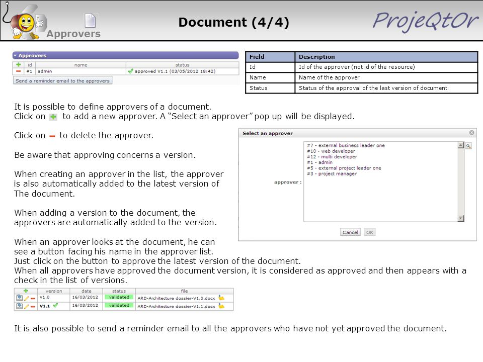 Document (4/4) Approvers FieldDescription IdId of the approver (not id of the resource) NameName of the approver StatusStatus of the approval of the l