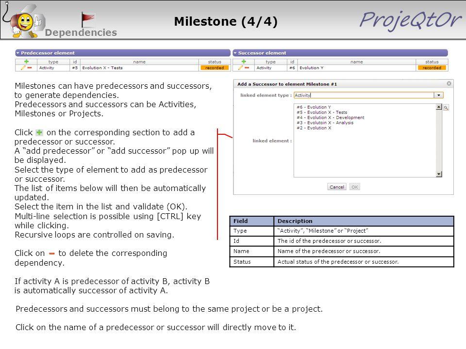 "Dependencies FieldDescription Type""Activity"", ""Milestone"" or ""Project"" IdThe id of the predecessor or successor. NameName of the predecessor or succes"