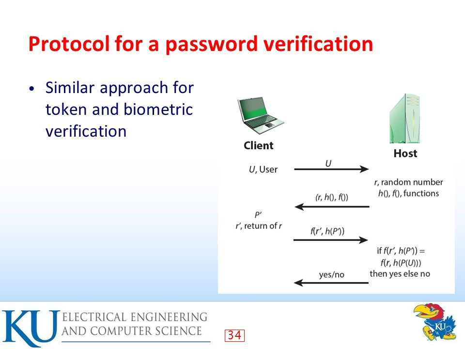 34 Protocol for a password verification Similar approach for token and biometric verification