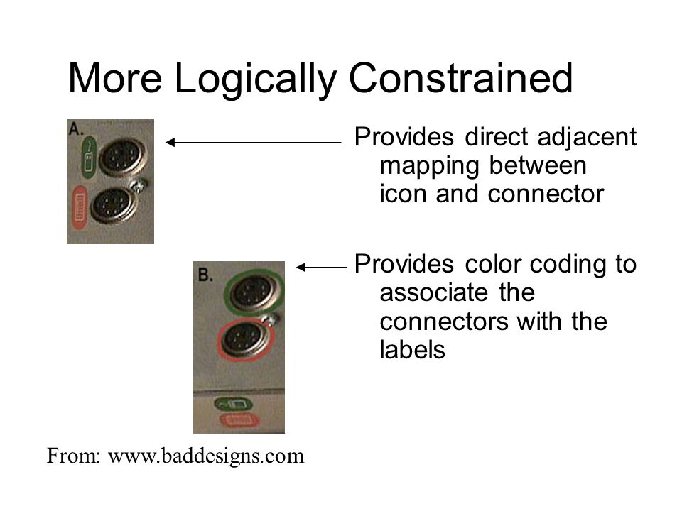 More Logically Constrained Provides direct adjacent mapping between icon and connector Provides color coding to associate the connectors with the labe