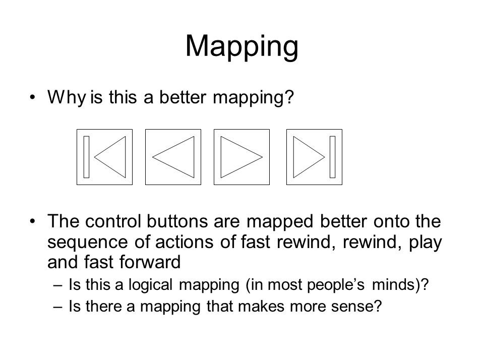 Mapping Why is this a better mapping? The control buttons are mapped better onto the sequence of actions of fast rewind, rewind, play and fast forward