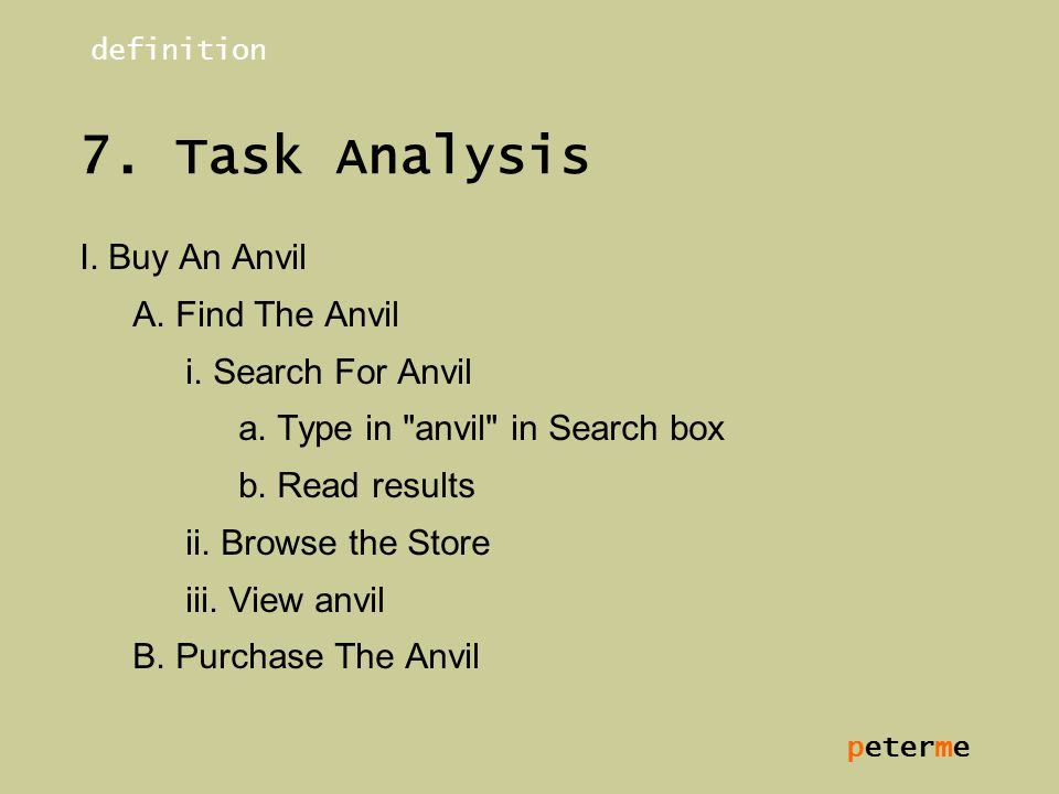 peterme 7.Task Analysis I. Buy An Anvil A. Find The Anvil i.