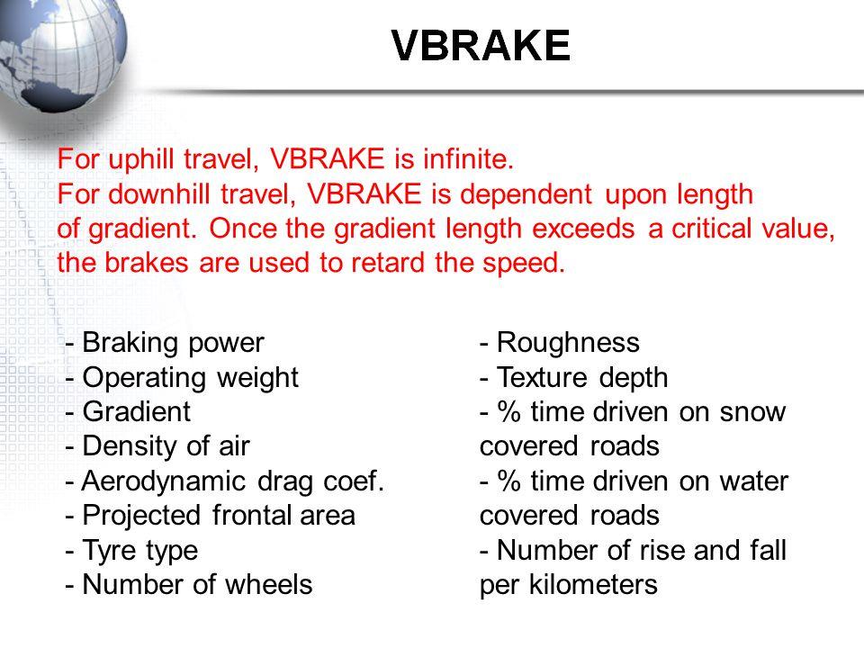 For uphill travel, VBRAKE is infinite.