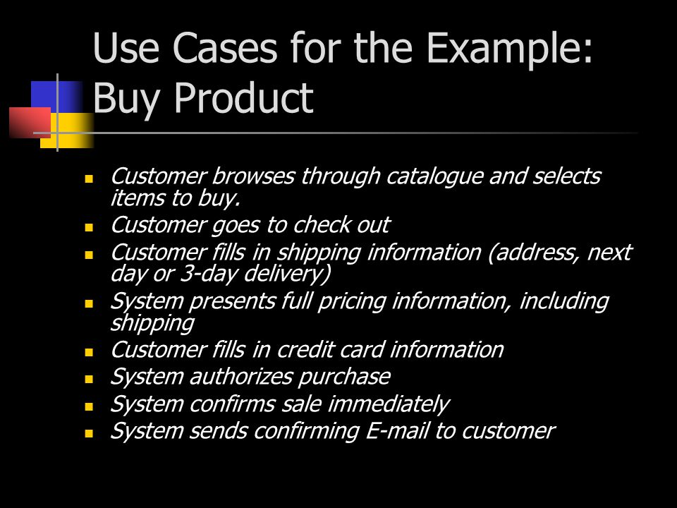 Use Cases for the Example: Buy Product Customer browses through catalogue and selects items to buy. Customer goes to check out Customer fills in shipp