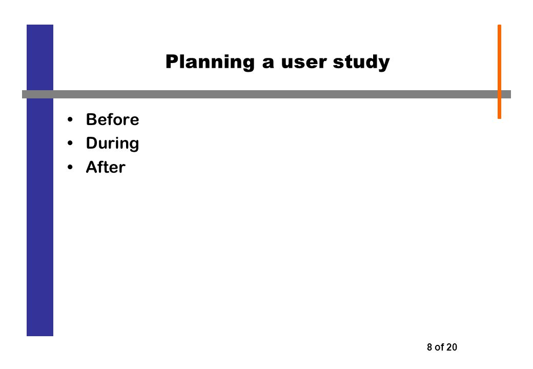 8 of 20 Planning a user study Before During After