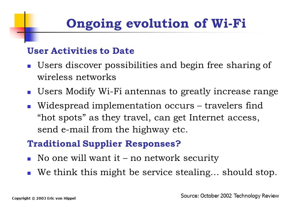 Copyright © 2003 Eric von Hippel Ongoing evolution of Wi-Fi User Activities to Date Users discover possibilities and begin free sharing of wireless ne