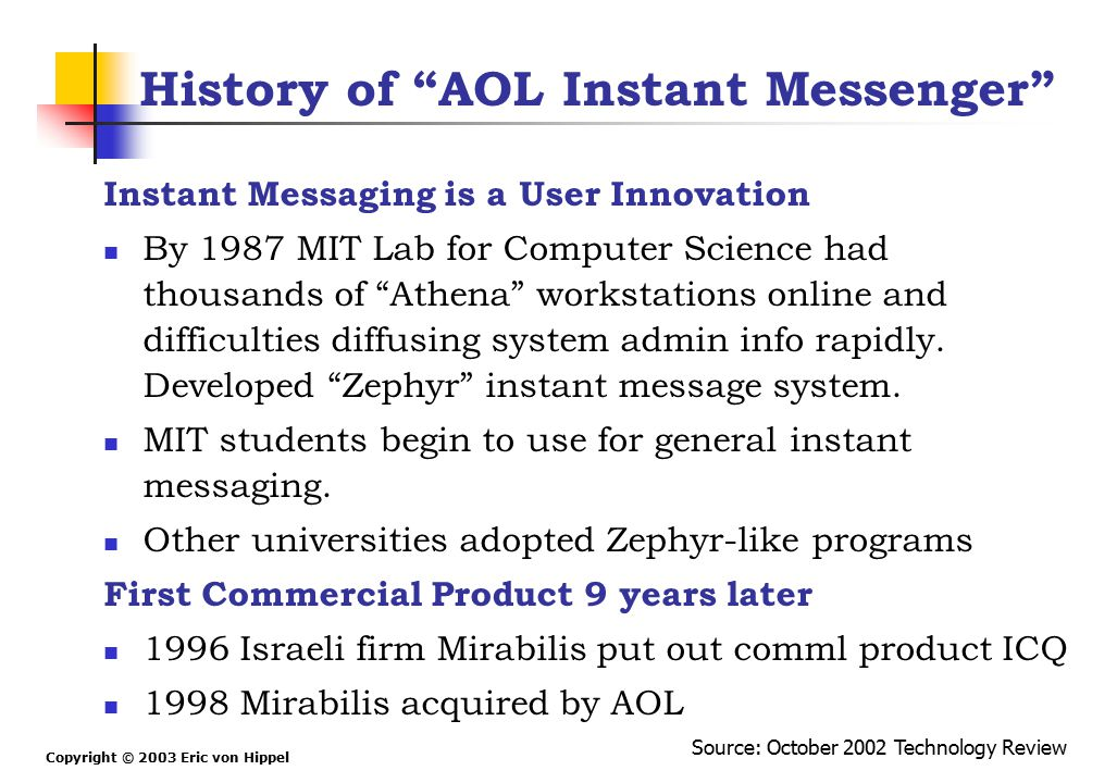 """Copyright © 2003 Eric von Hippel History of """"AOL Instant Messenger"""" Instant Messaging is a User Innovation By 1987 MIT Lab for Computer Science had th"""