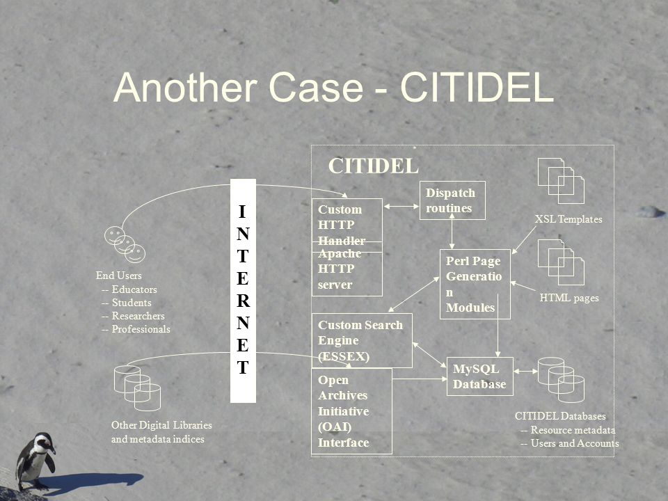 Another Case - CITIDEL CITIDEL Databases -- Resource metadata -- Users and Accounts MySQL Database Perl Page Generatio n Modules Apache HTTP server Custom HTTP Handler Dispatch routines Open Archives Initiative (OAI) Interface CITIDEL XSL Templates HTML pages End Users -- Educators -- Students -- Researchers -- Professionals Other Digital Libraries and metadata indices INTERNETINTERNET Custom Search Engine (ESSEX)