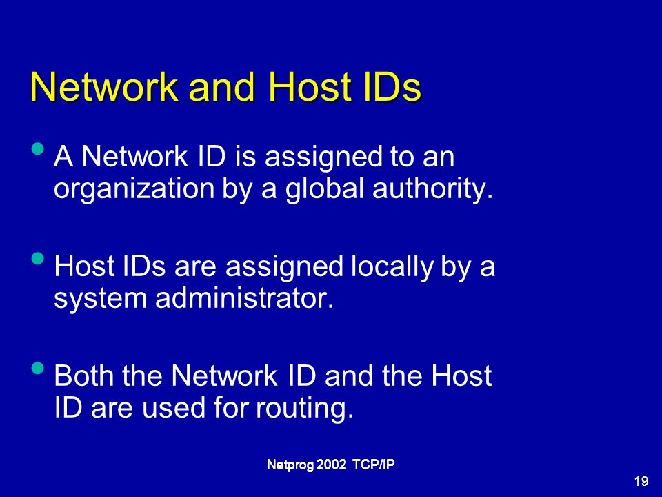 19 Netprog 2002 TCP/IP Network and Host IDs A Network ID is assigned to an organization by a global authority.