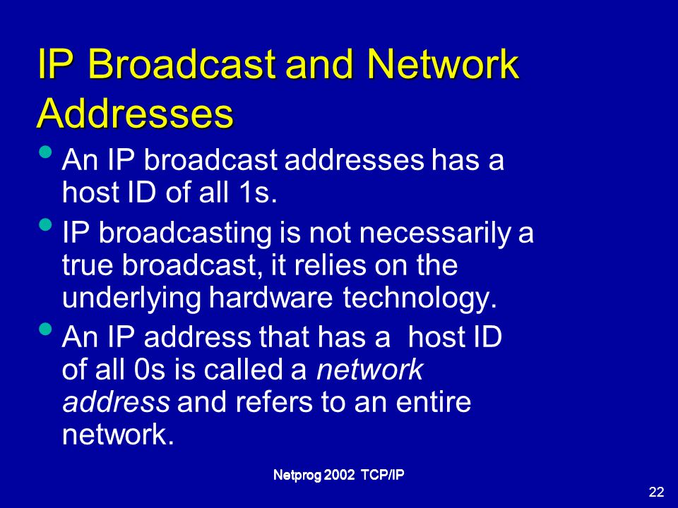 22 Netprog 2002 TCP/IP IP Broadcast and Network Addresses An IP broadcast addresses has a host ID of all 1s.