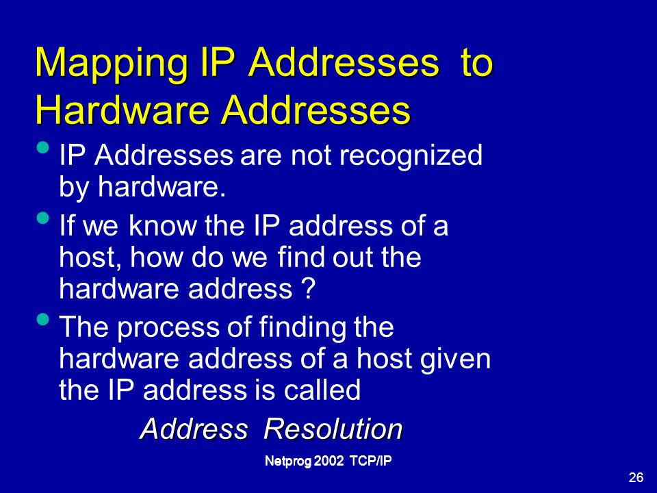 26 Netprog 2002 TCP/IP Mapping IP Addresses to Hardware Addresses IP Addresses are not recognized by hardware.