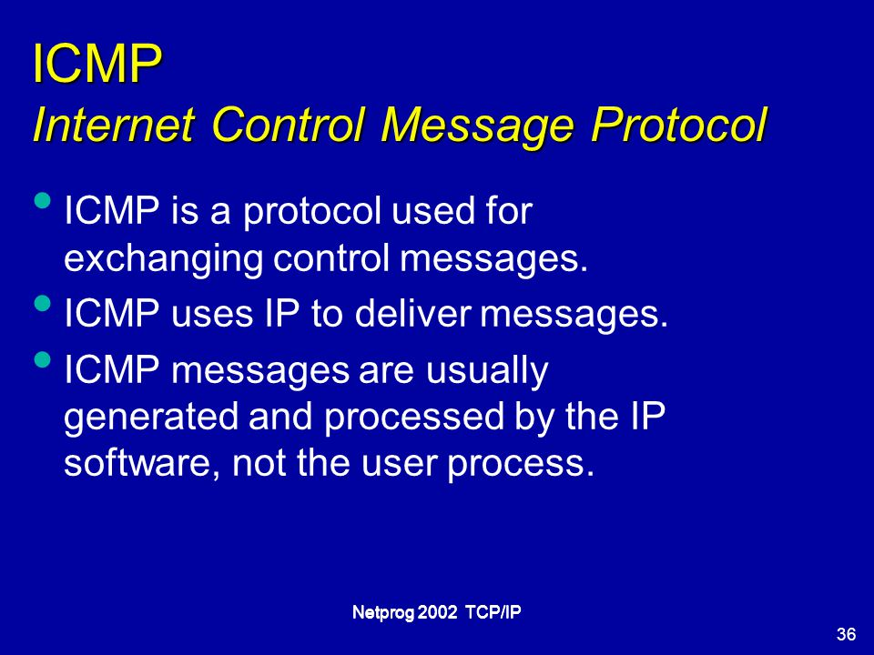 36 Netprog 2002 TCP/IP ICMP Internet Control Message Protocol ICMP is a protocol used for exchanging control messages.