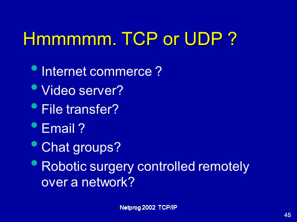 45 Netprog 2002 TCP/IP Hmmmmm. TCP or UDP . Internet commerce .