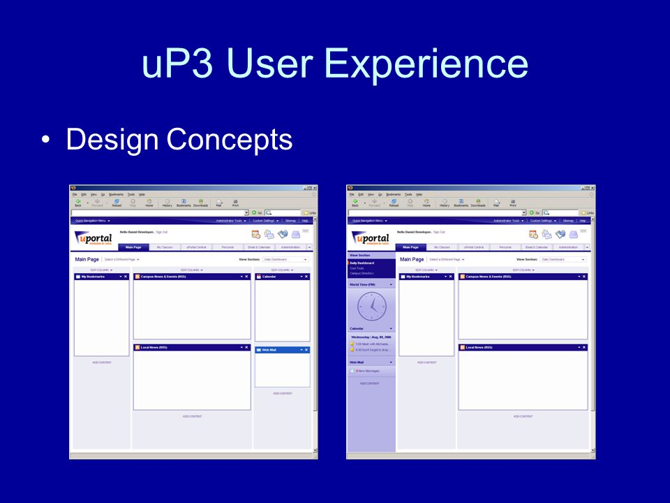 uP3 User Experience Design Concepts