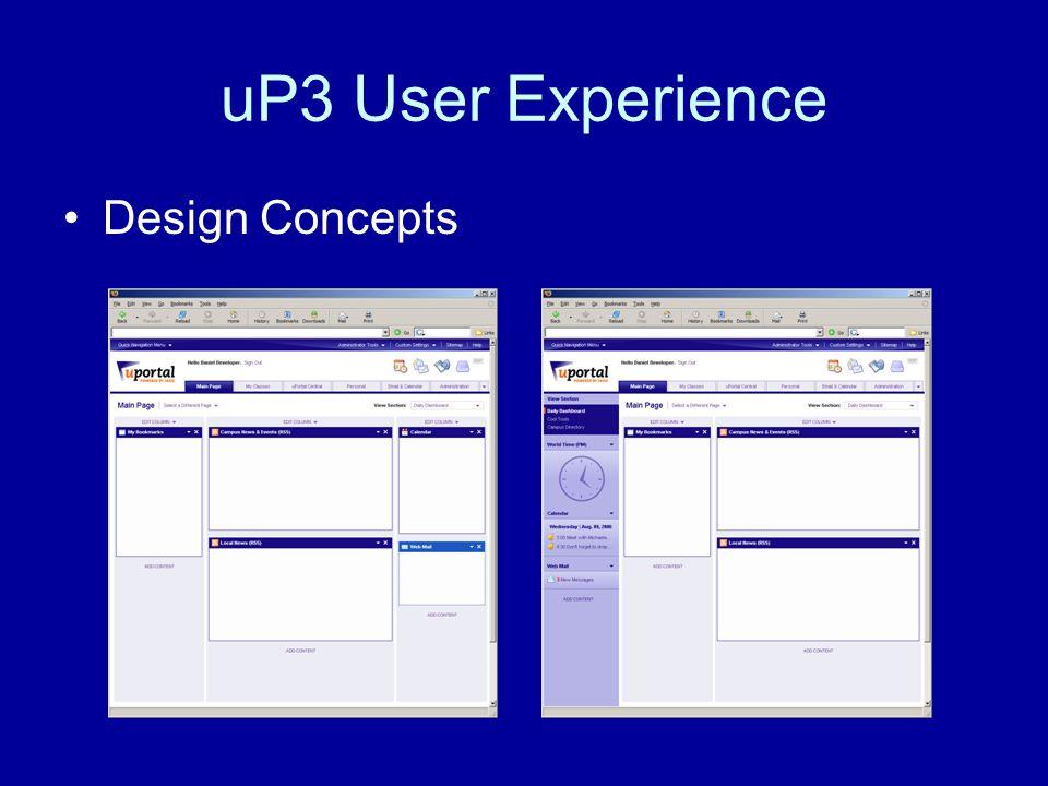 uP3 User Experience User Testing –Effectiveness –Efficiency –Satisfaction