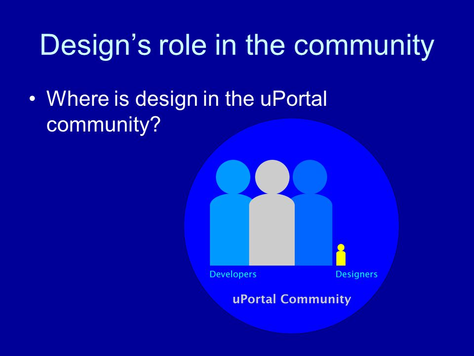Design's role in the community Until there is more designer involvement and emphasis on making the product desirable and usable, uPortal will not reach its full potential Significant barriers to entry for both product use and community contribution Powerful, but unattractive functionality that is difficult to use