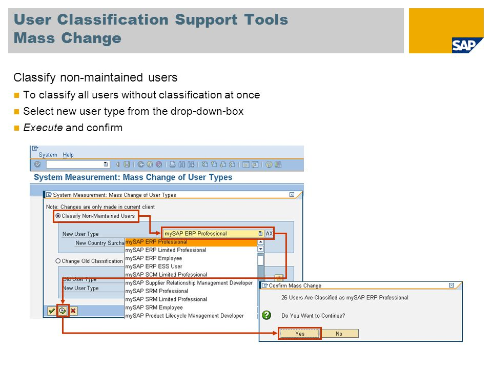 User Classification Support Tools Mass Change Classify non-maintained users To classify all users without classification at once Select new user type