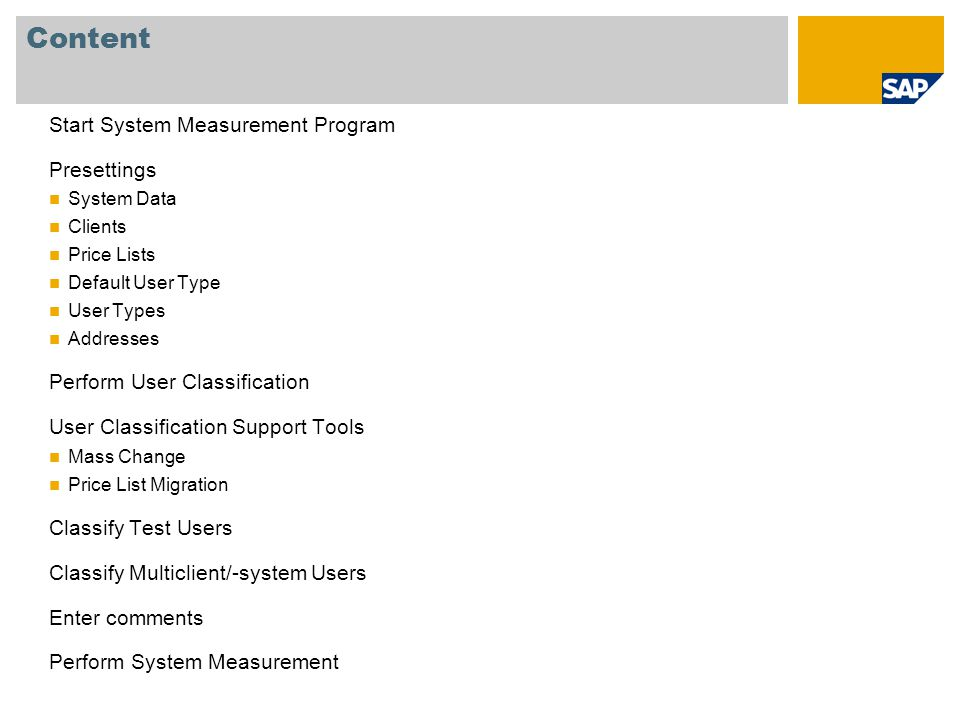 Content Start System Measurement Program Presettings System Data Clients Price Lists Default User Type User Types Addresses Perform User Classificatio