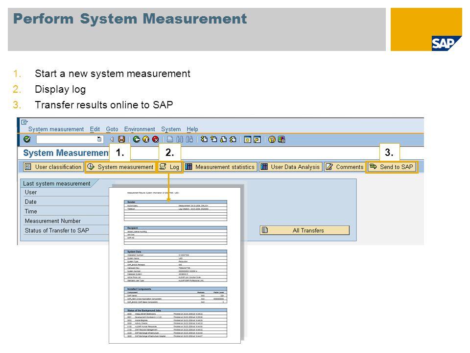 Perform System Measurement 1.Start a new system measurement 2.Display log 3.Transfer results online to SAP 1.2.3.