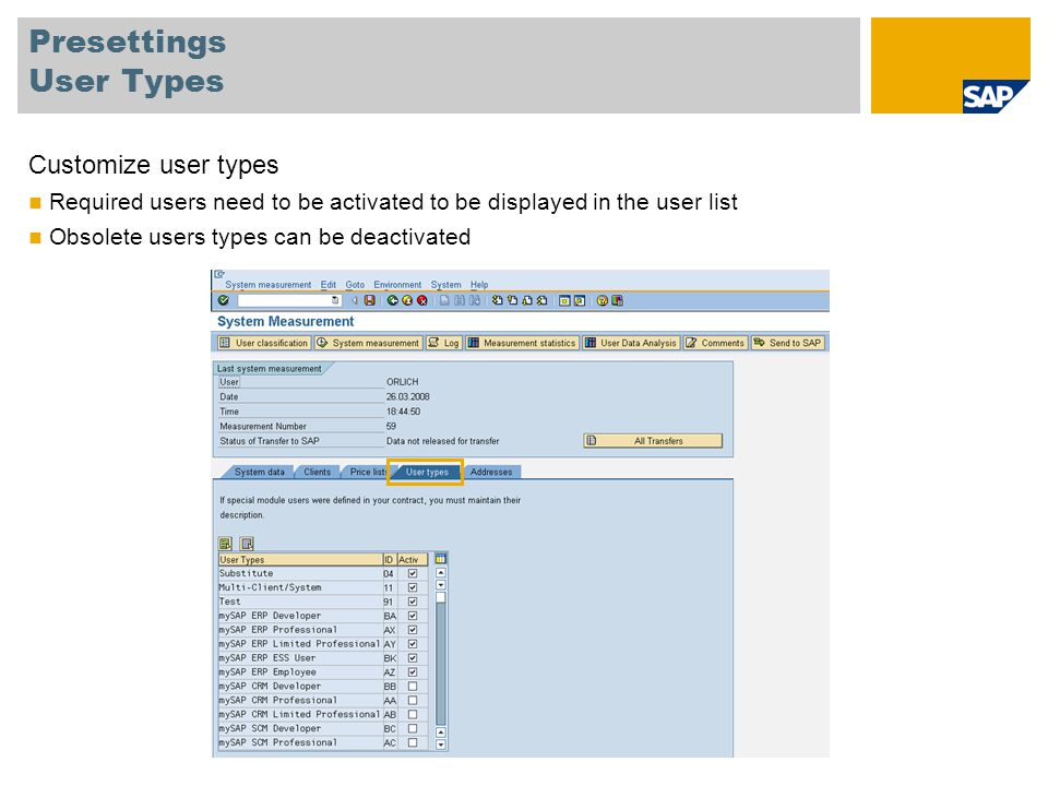 Presettings User Types Customize user types Required users need to be activated to be displayed in the user list Obsolete users types can be deactivat