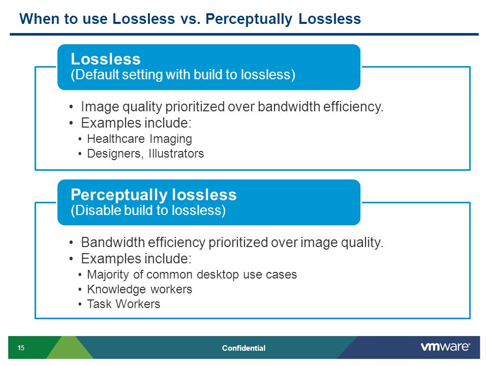 15 Confidential When to use Lossless vs. Perceptually Lossless