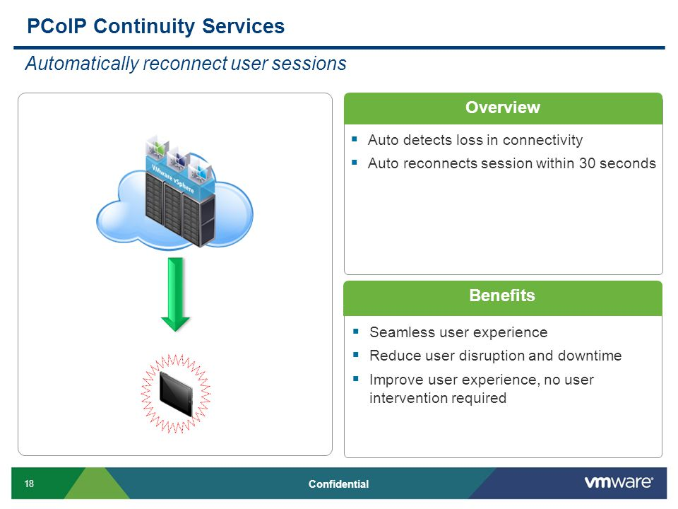 18 Confidential Overview Benefits  Seamless user experience  Reduce user disruption and downtime  Improve user experience, no user intervention required PCoIP Continuity Services Automatically reconnect user sessions  Auto detects loss in connectivity  Auto reconnects session within 30 seconds