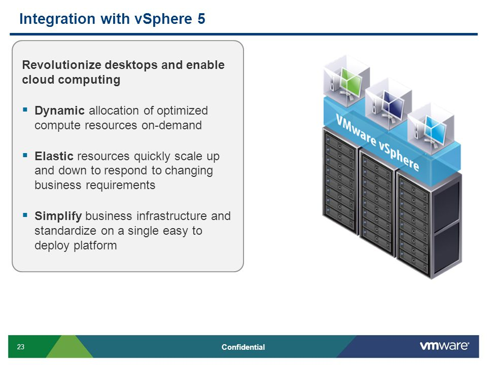 23 Confidential Integration with vSphere 5 Revolutionize desktops and enable cloud computing  Dynamic allocation of optimized compute resources on-demand  Elastic resources quickly scale up and down to respond to changing business requirements  Simplify business infrastructure and standardize on a single easy to deploy platform