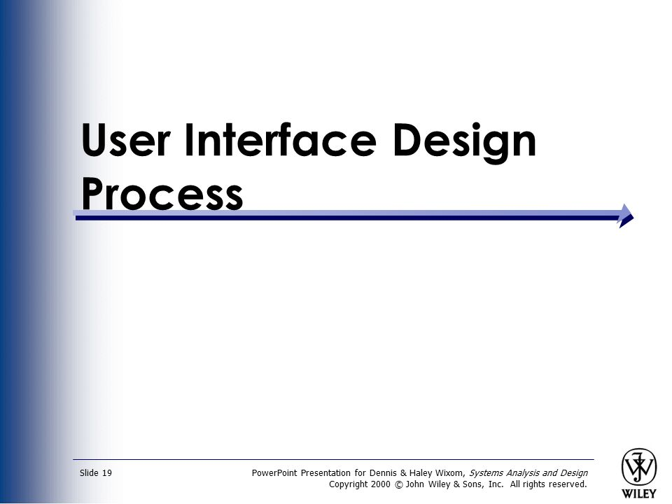 PowerPoint Presentation for Dennis & Haley Wixom, Systems Analysis and Design Copyright 2000 © John Wiley & Sons, Inc. All rights reserved. Slide 19 U