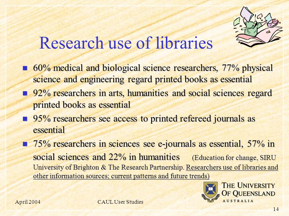 April 2004CAUL User Studies 14 Research use of libraries 60% medical and biological science researchers, 77% physical science and engineering regard printed books as essential 60% medical and biological science researchers, 77% physical science and engineering regard printed books as essential 92% researchers in arts, humanities and social sciences regard printed books as essential 92% researchers in arts, humanities and social sciences regard printed books as essential 95% researchers see access to printed refereed journals as essential 95% researchers see access to printed refereed journals as essential 75% researchers in sciences see e-journals as essential, 57% in social sciences and 22% in humanities (Education for change, SIRU University of Brighton & The Research Partnership.