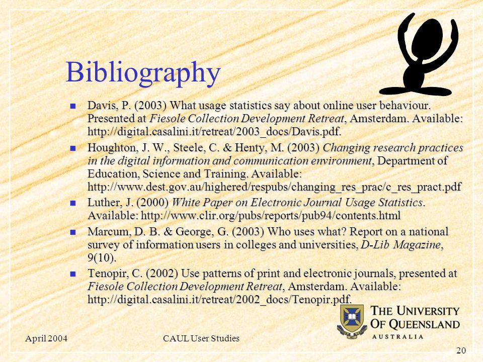 April 2004CAUL User Studies 20 Bibliography Davis, P.