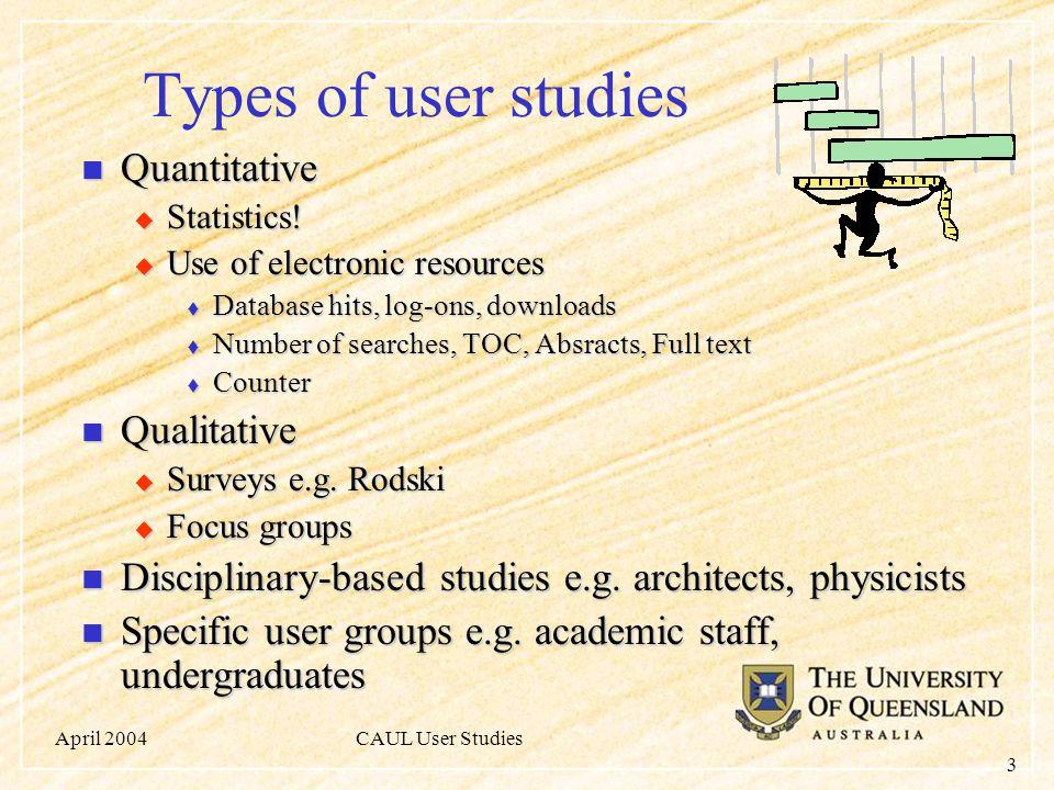 April 2004CAUL User Studies 3 Types of user studies Quantitative Quantitative  Statistics.